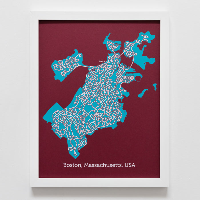 Red and Teal Boston Poster | 11X14 Map Print
