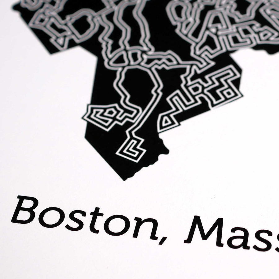 black and white boston map art print poster maze