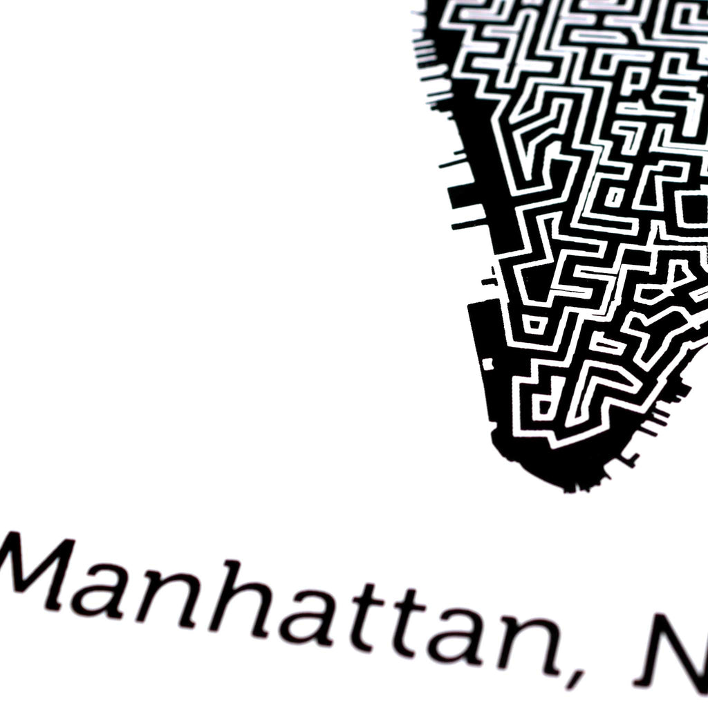 black and white manhattan map art print poster maze new york city