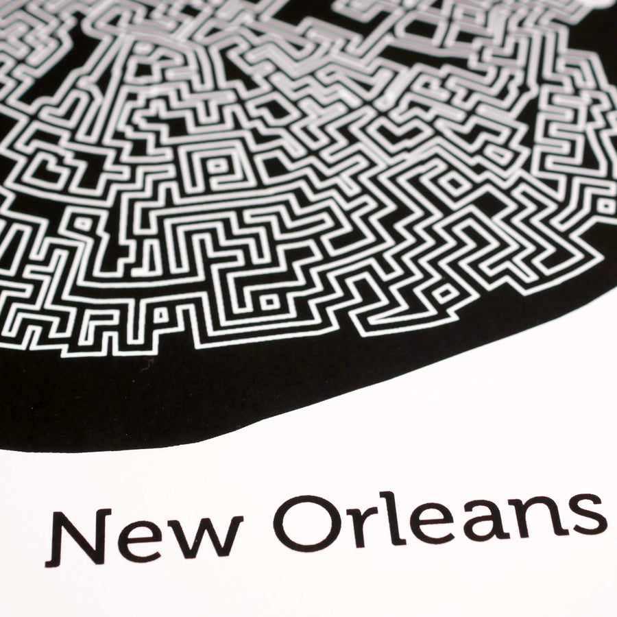 black and white new orleans map art print poster maze louisiana nola