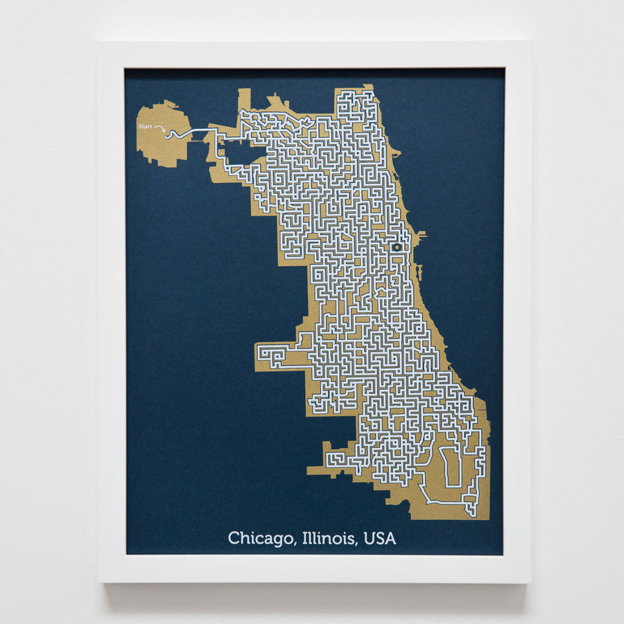 blue and gold chicago map art print poster maze illinois puzzle labyrinth screen print