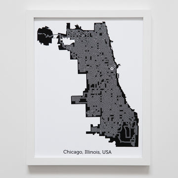 black and white chicago map art print poster maze