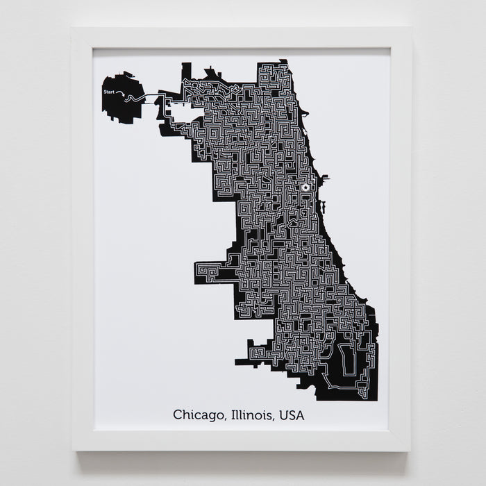 Black and White Chicago Print | 11X14 Map Art