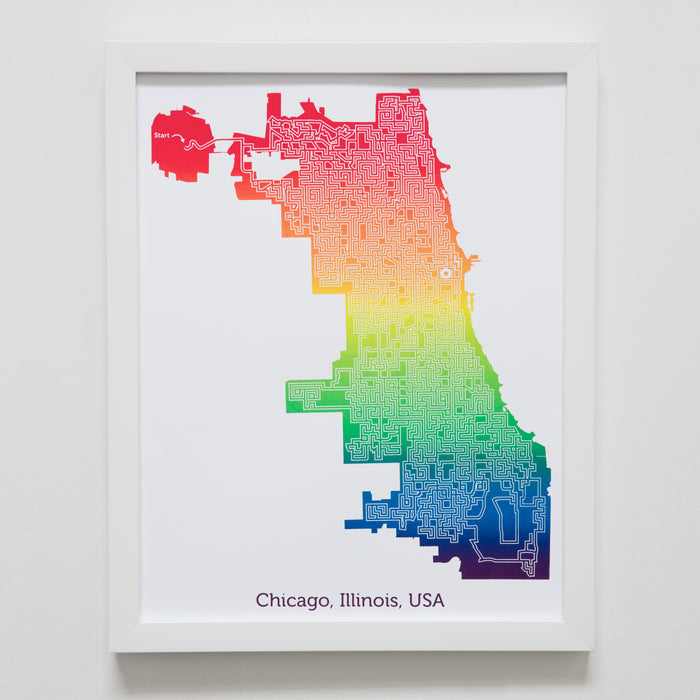 rainbow chicago illionois map art print poster maze city tourist gift souvenir puzzle labyrinth screen print city housewarming present