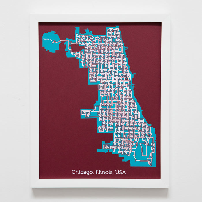 red and teal chicago illinois city map art print poster maze city tourist gift souvenir puzzle labyrinth screen print city housewarming present