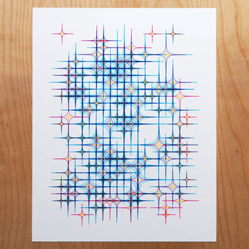 10 Print Blue Diamond Stars - 1 Left!