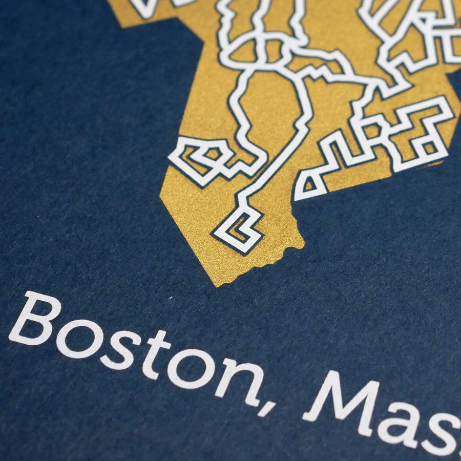 blue and gold boston map art print poster maze massachussetts puzzle labyrinth screen print