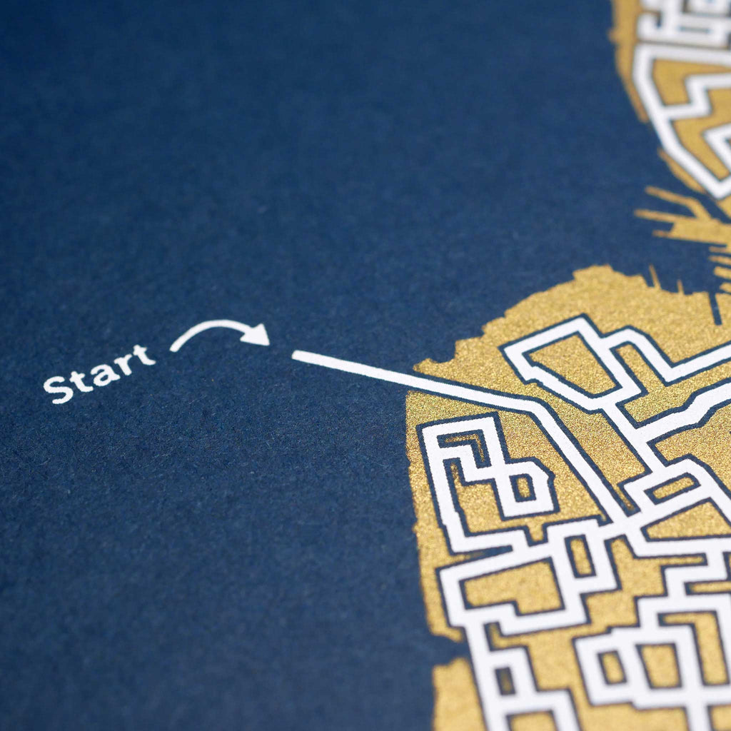 blue and gold new york city map art print poster maze brooklyn puzzle labyrinth screen print