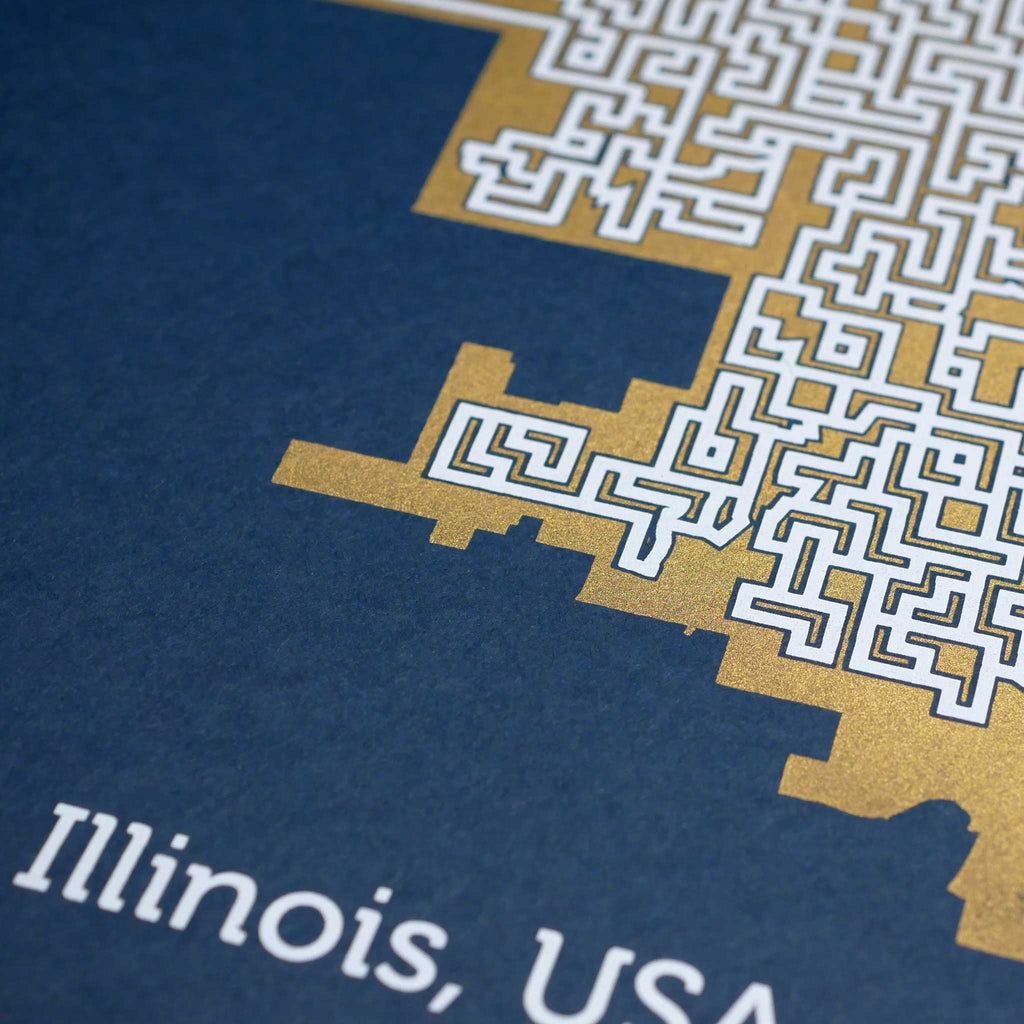 Blue and Gold Chicago Print | 11X14 Gold Map