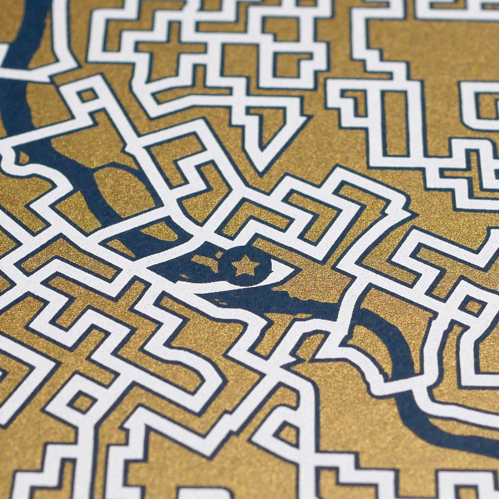 blue and gold minneapolis map art print poster maze minnesota puzzle labyrinth screen print city