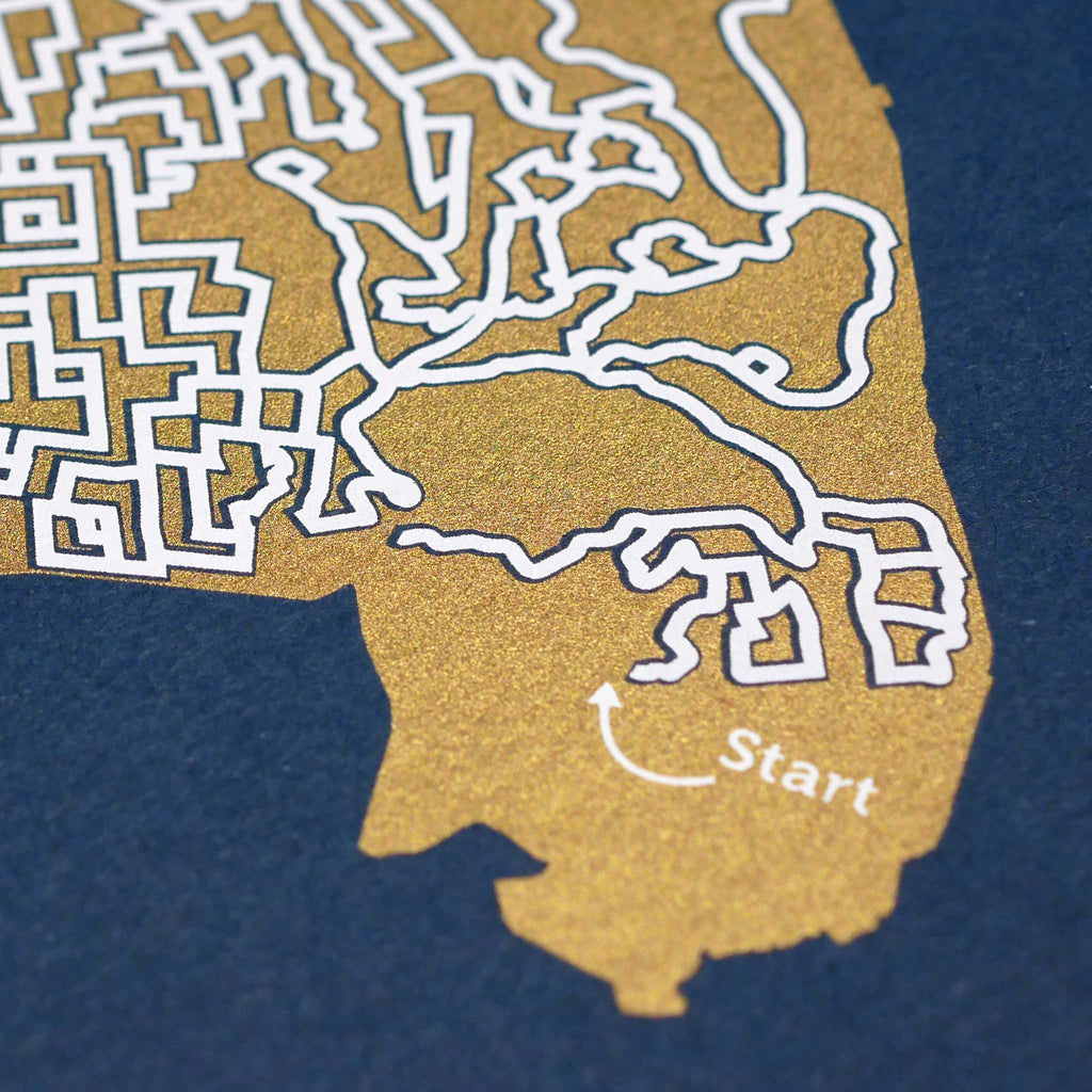 Blue and Gold Oakland Print | 11X14 Map Art