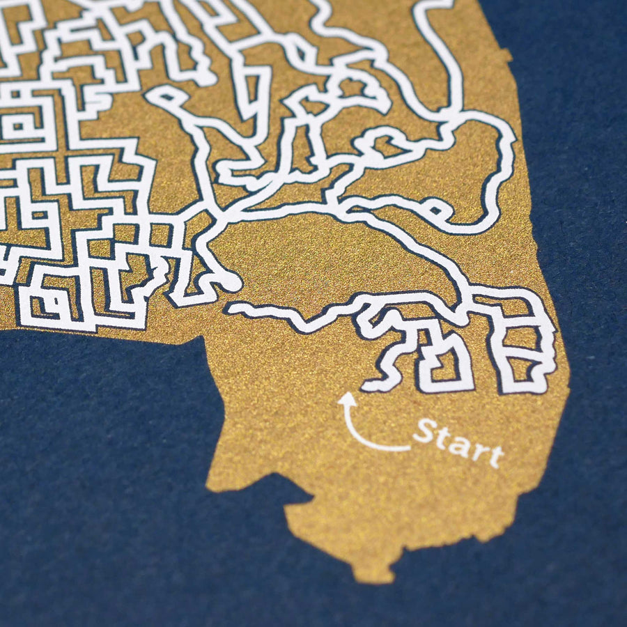 blue and gold oakland map art print poster maze california oaklandish oaktown puzzle labyrinth screen print city