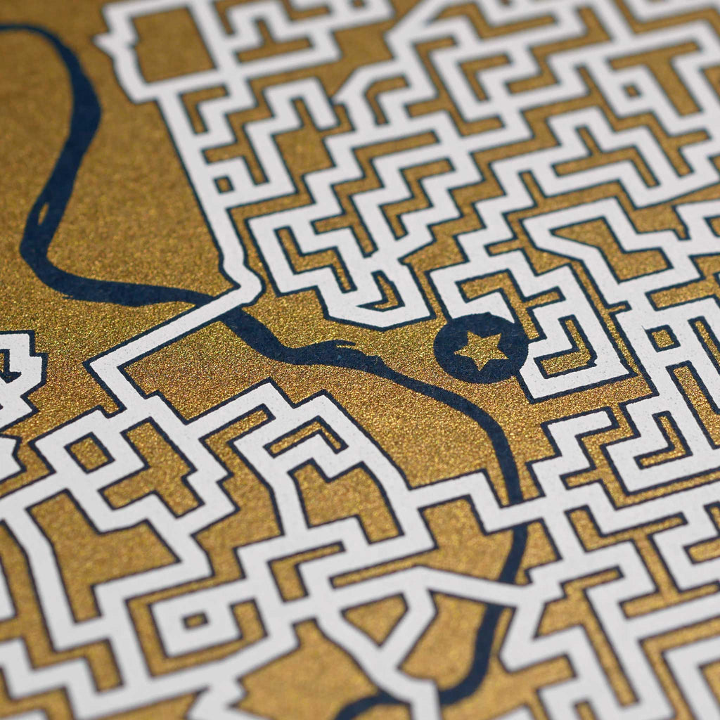 blue and gold philadelphia map art print poster maze pennsylvania philly puzzle labyrinth screen print city