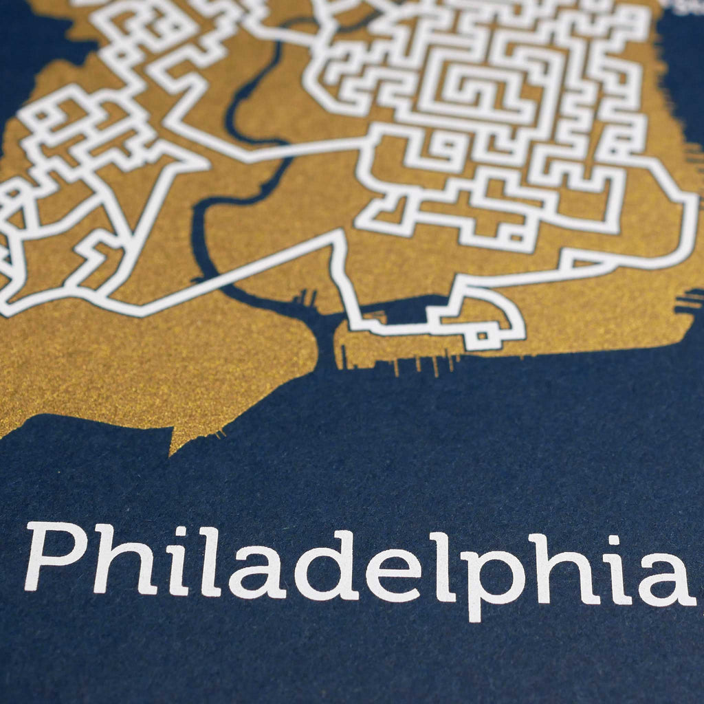 Blue and Gold Philadelphia Print | 11X14 Gold Map
