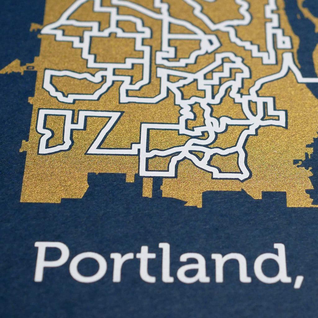 blue and gold portland map art print poster maze oregon puzzle labyrinth screen print city