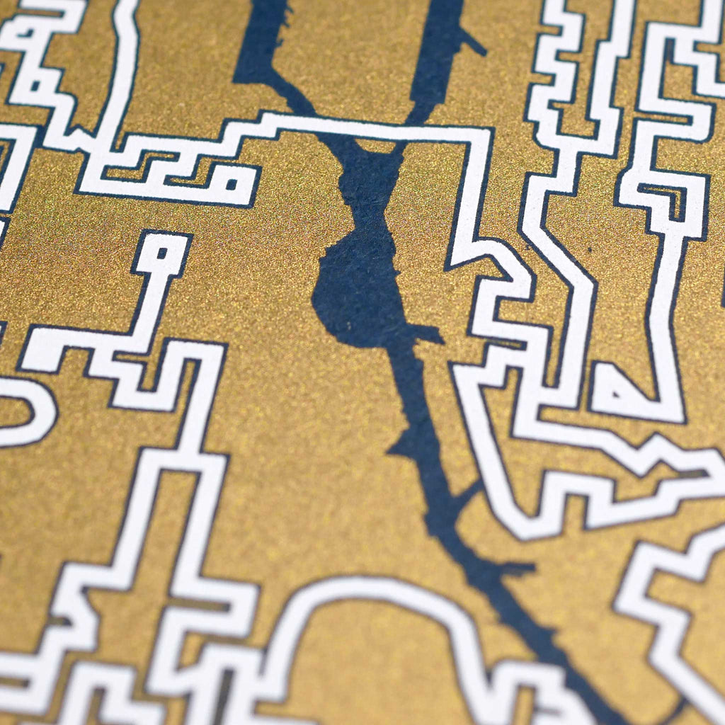 Blue and Gold Seattle Print | 11X14 Gold Map