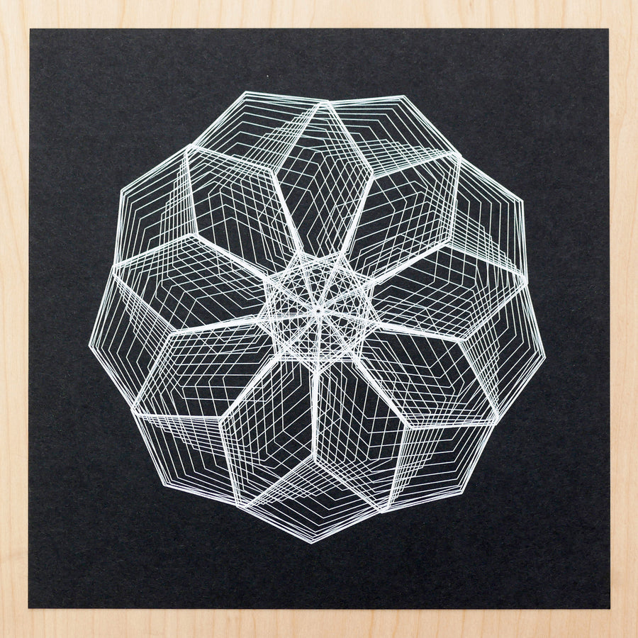 Heptagon Flower Spirograph Print - Limited Edition of 5
