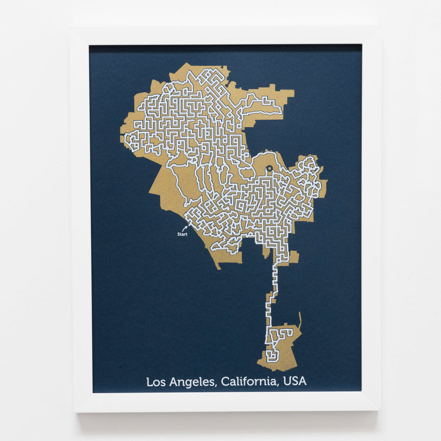 blue and gold los angeles map art print poster maze california puzzle labyrinth screen print