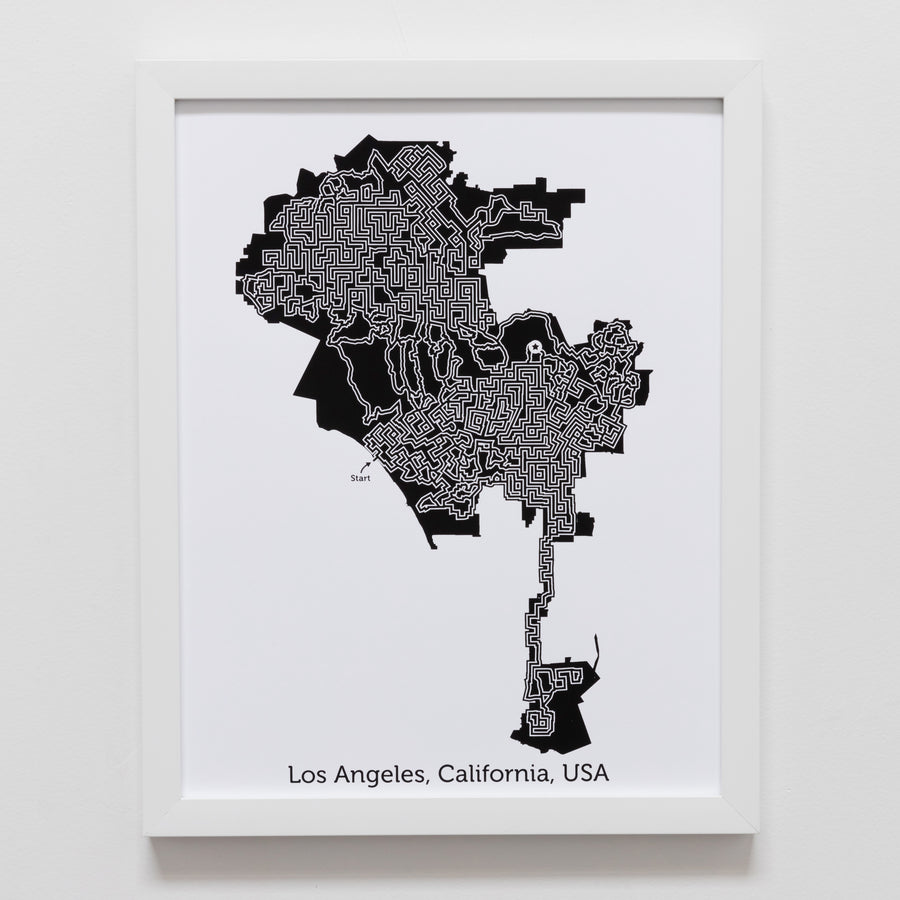 black and white los angeles map art print poster maze