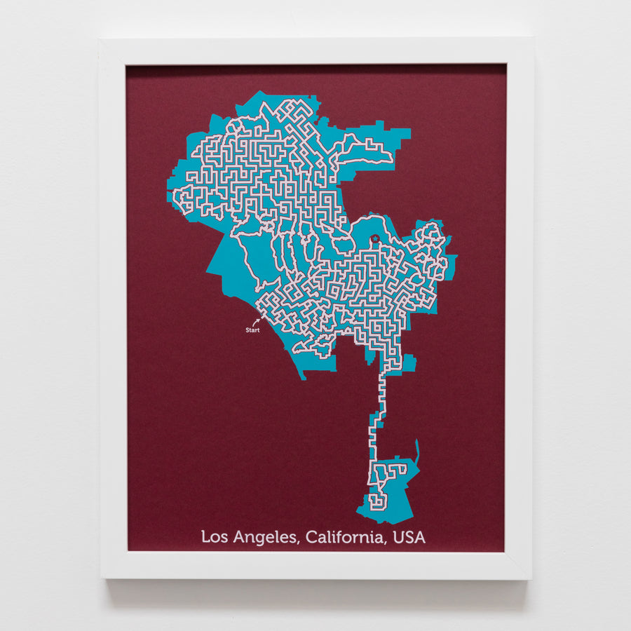 red and teal los angeles california map art print poster maze city tourist gift souvenir puzzle labyrinth screen print city housewarming present