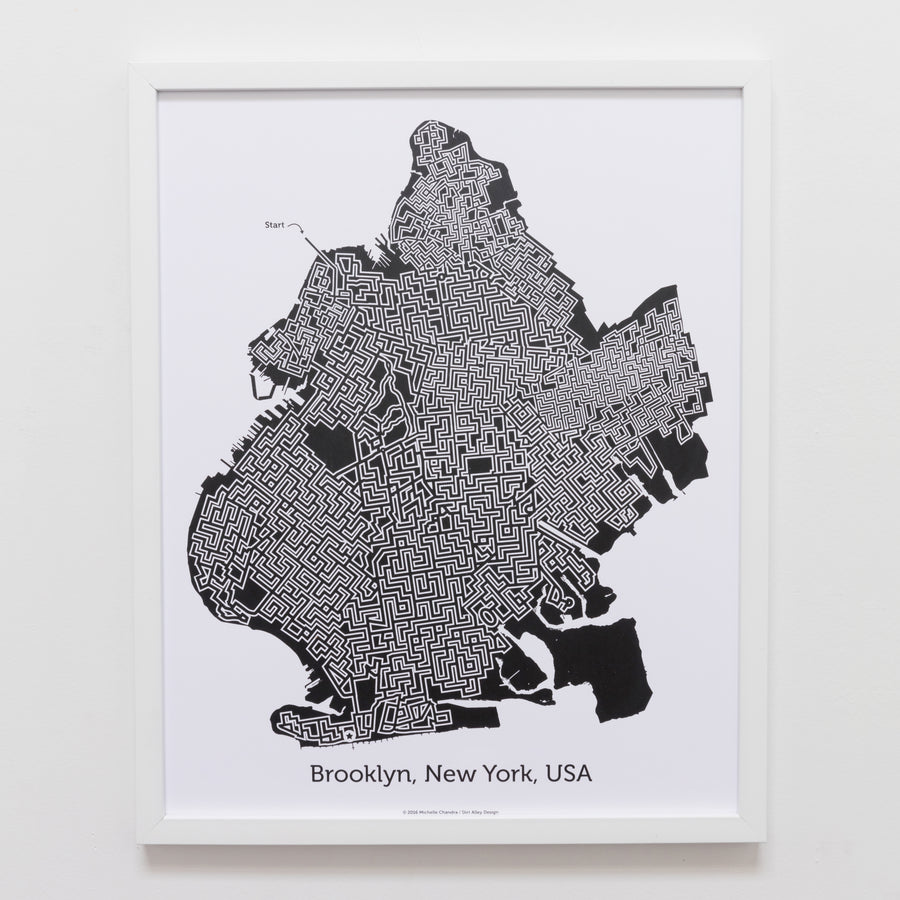 Black and White Brooklyn Print | 16X20 Map Art