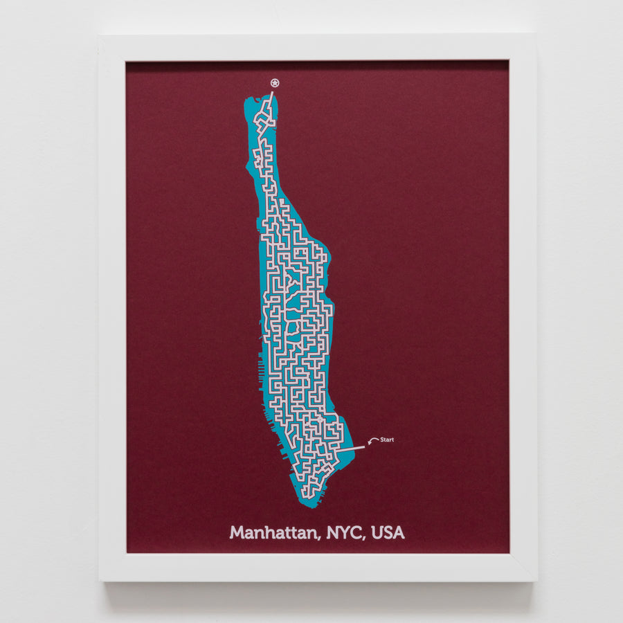 Red and Teal Manhattan Print | 11X14 Map Art