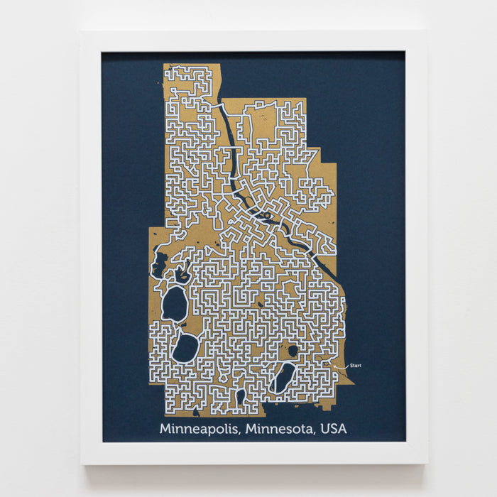 Blue and Gold Minneapolis Print | 11X14 Gold Map