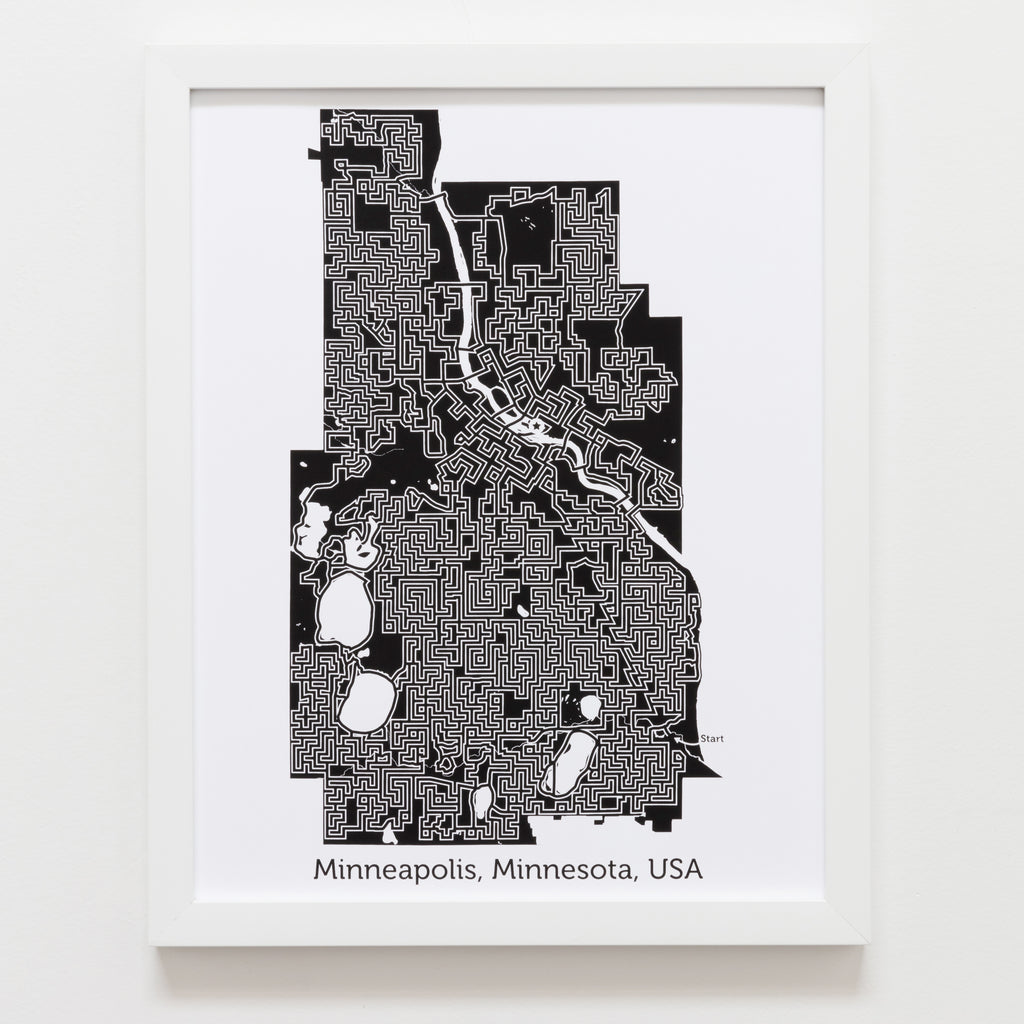 Black And White Minneapolis Poster 11x14 Maze Art Dirt Alley Design
