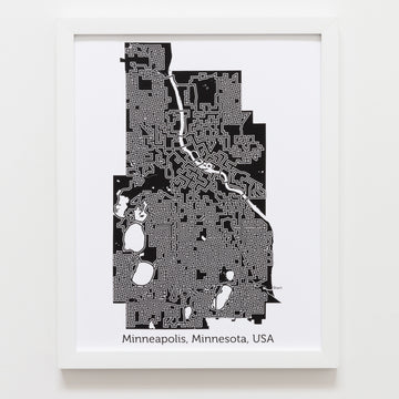 black and white minneapolis map art print poster maze minnesota