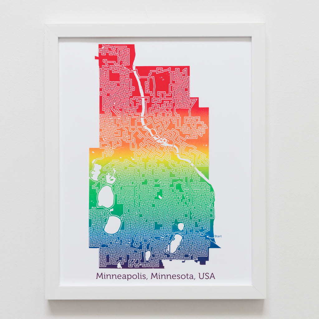 raibow minneapolis minnesota city map art print poster maze puzzle labynrinth