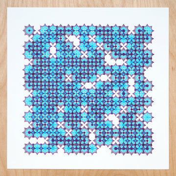 Blue Star Mosaic Plotter Art - Limited Edition of 4