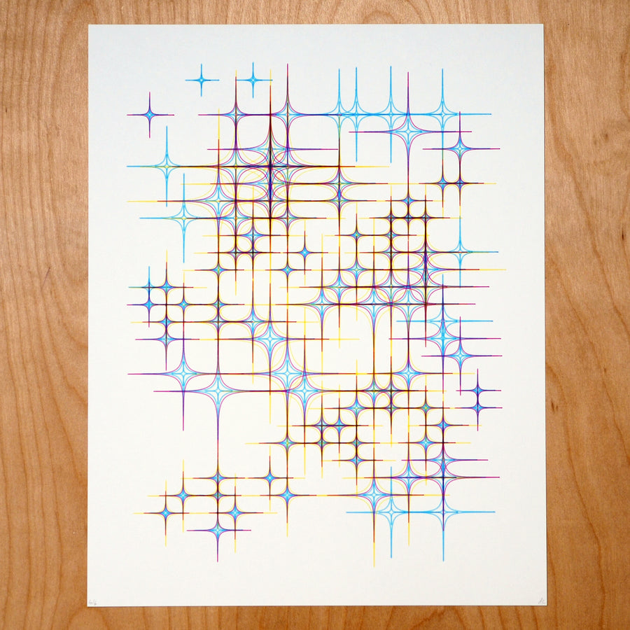 Yellow Stars Plotter Art - Limited Edition of 6