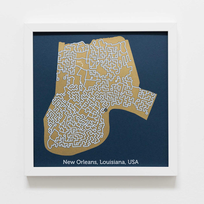 blue and gold new orleans map art print poster maze louisiana nola puzzle labyrinth screen print city