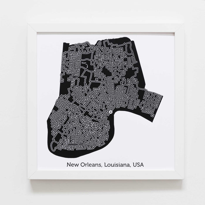 Black and White New Orleans Print | 12X12 Map Art