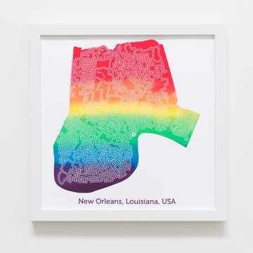 rainbow new orleans louisiana nola city map art print poster maze city tourist gift souvenir puzzle labyrinth screen print city housewarming present