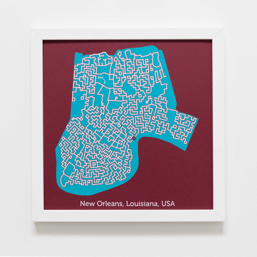 red and teal new orleans louisiana city map art print poster maze city tourist gift souvenir puzzle labyrinth screen print city housewarming present