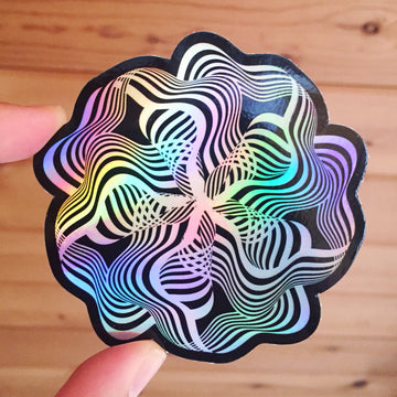 Op Art Flower Stickers - 3in