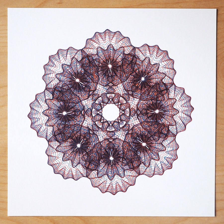 Orange-Blue Steampunk Spirograph Print - Limited Edition of 3