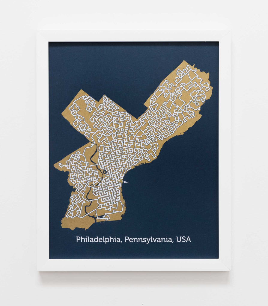 blue and gold philadelphia map art print by dirt alley design