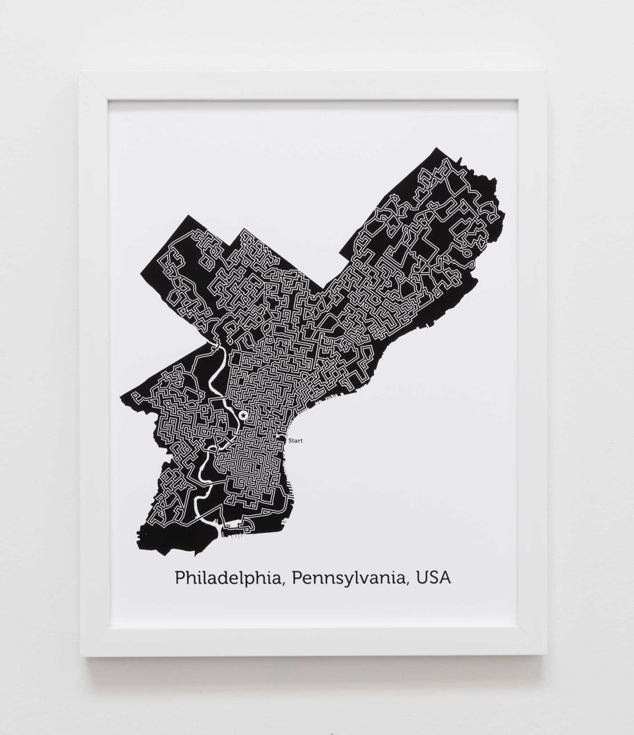 black and white philadelphia map art print poster maze pennsylvania philly