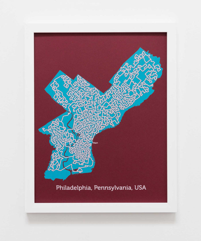 Red and Teal Philadelphia Poster | 11X14 Map Print