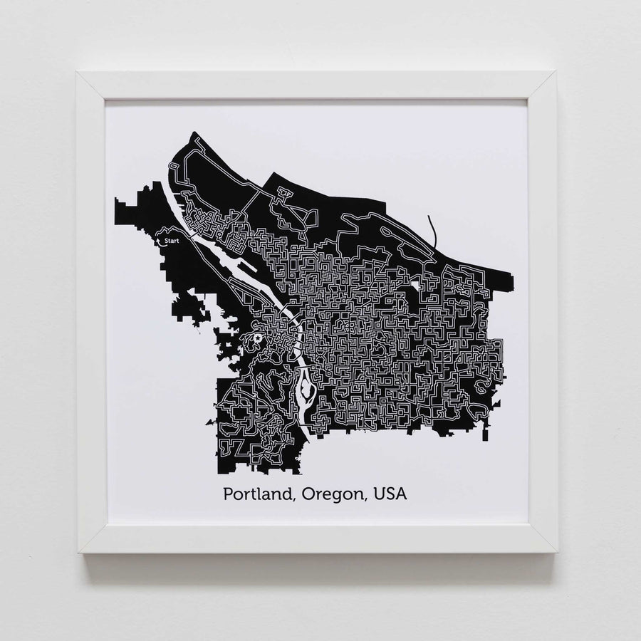 black and white portland map art print poster maze oregon