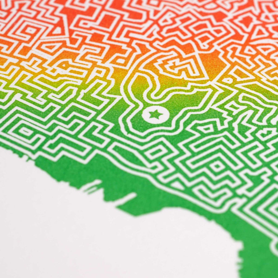 rainbow oakland map art print poster maze california city tourist gift souvenir puzzle labyrinth screen print city housewarming present