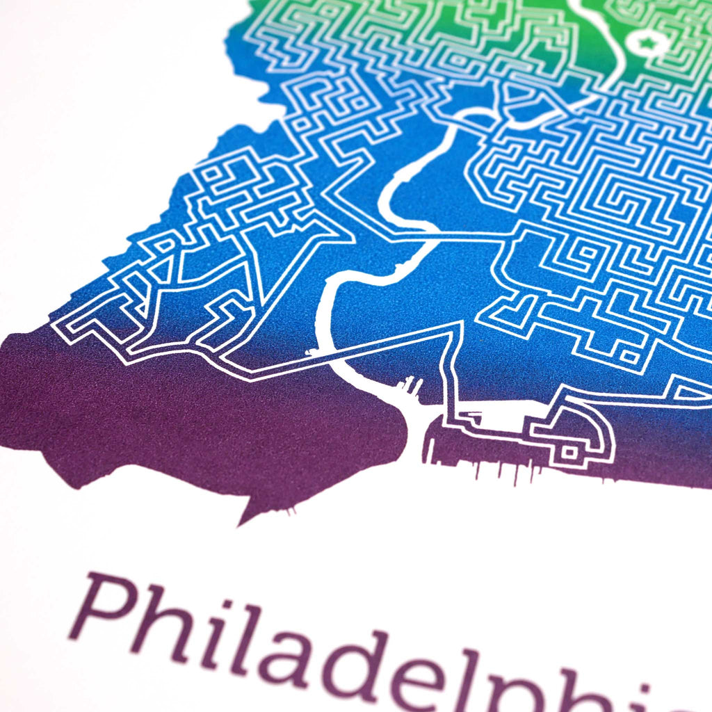 rainbow philadelphia pennsylvania philly city map art print poster maze city tourist gift souvenir puzzle labyrinth screen print city housewarming present