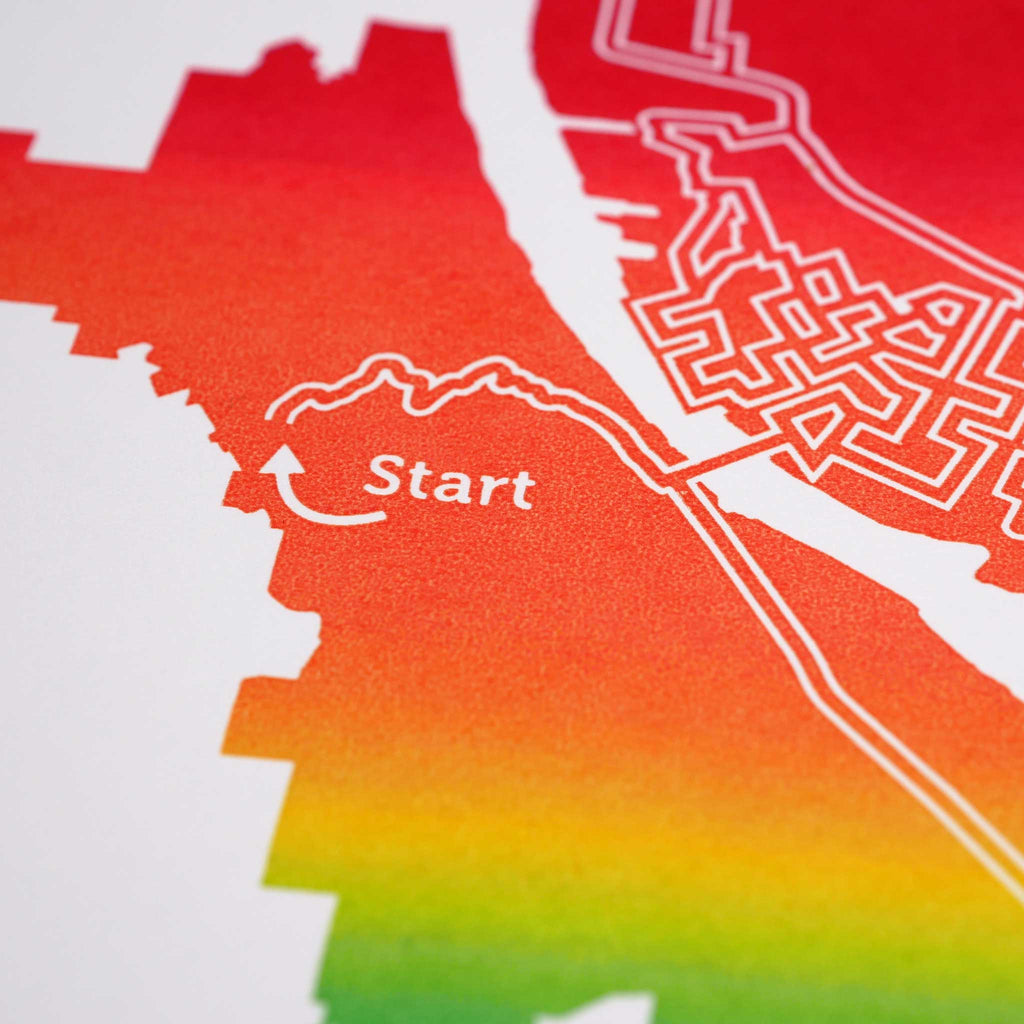 rainbow portland oregon city map art print poster maze city tourist gift souvenir puzzle labyrinth screen print city housewarming present