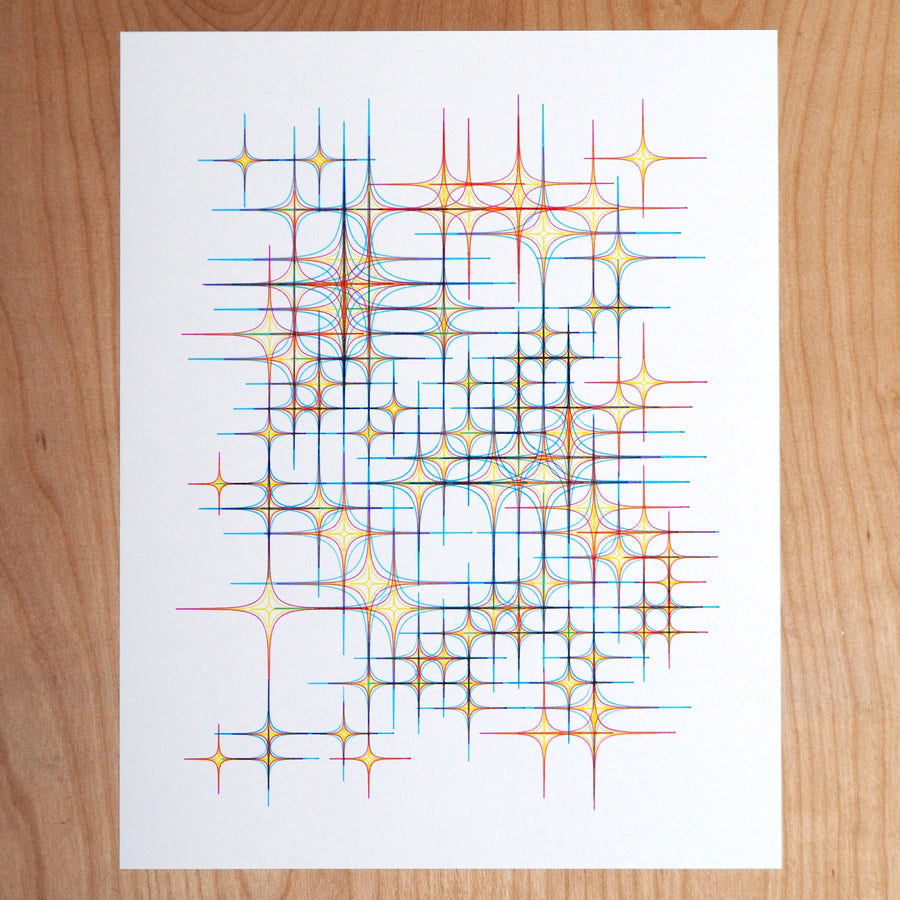 Red Diamond Stars Plotter Art - Limited Edition of 5