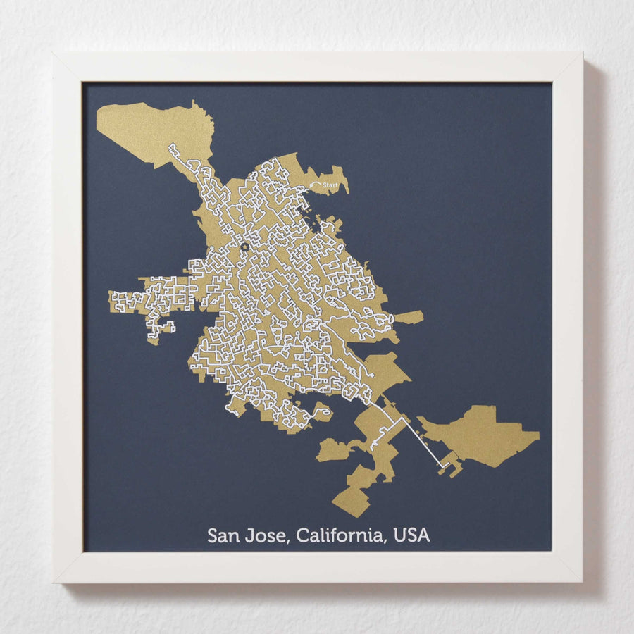 Blue and Gold San Jose Print | 12X12 Map Art