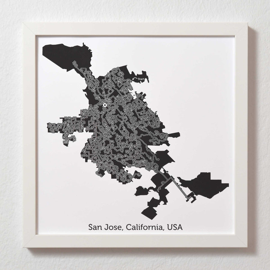 Black and White San Jose Print | 12X12 Map Art