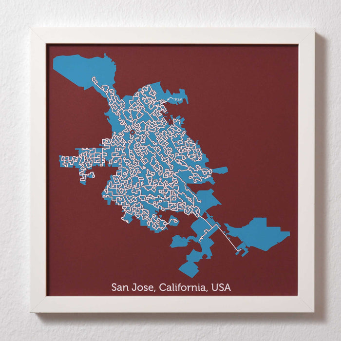 Red and Teal San Jose Print | 12X12 Map Art
