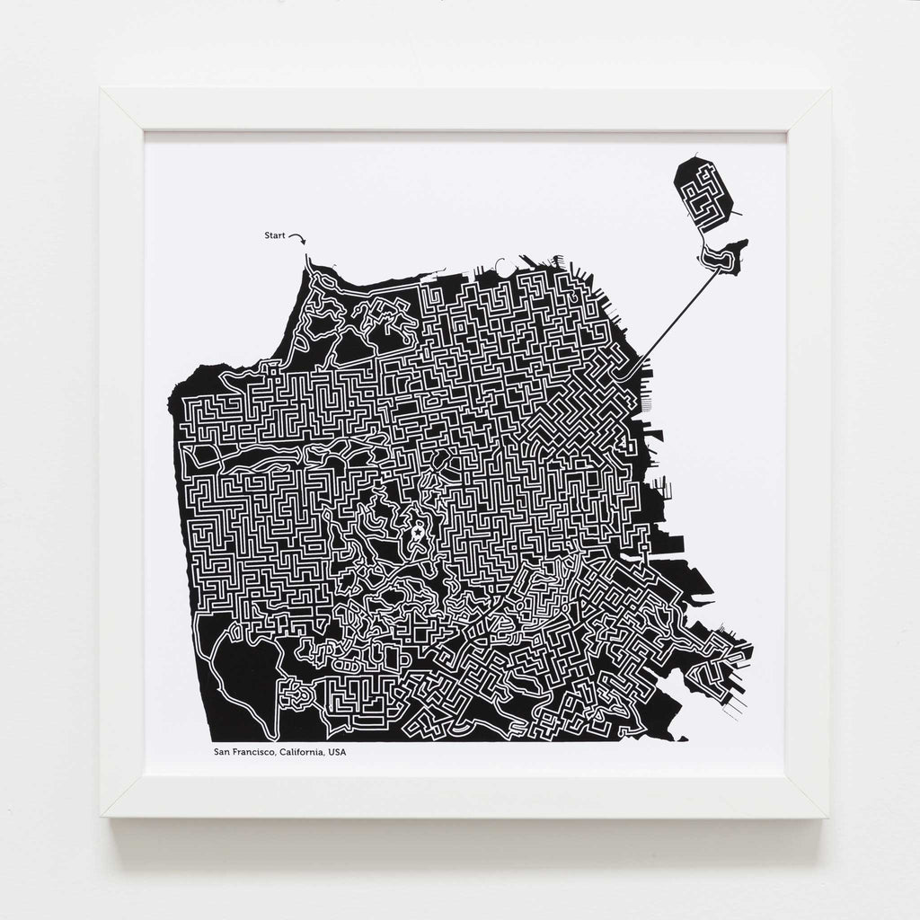 Black And White San Francisco Poster 12x12 Maze Art Dirt Alley Design